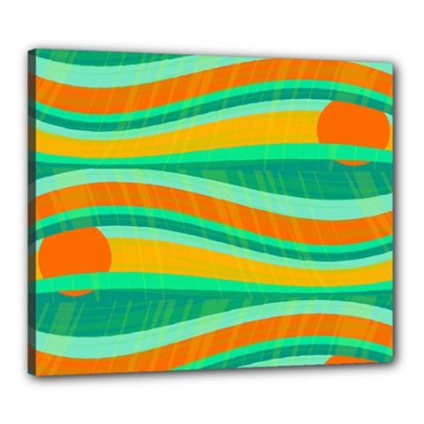 Green and orange decorative design Canvas 24  x 20