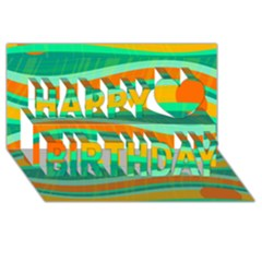 Green and orange decorative design Happy Birthday 3D Greeting Card (8x4)