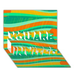 Green and orange decorative design YOU ARE INVITED 3D Greeting Card (7x5)