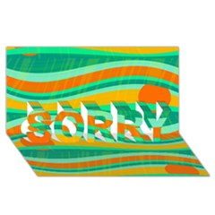 Green and orange decorative design SORRY 3D Greeting Card (8x4)