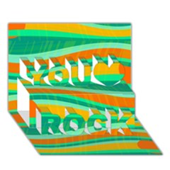 Green and orange decorative design You Rock 3D Greeting Card (7x5)