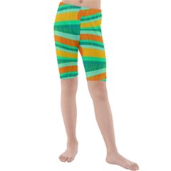 Green and orange decorative design Kids  Mid Length Swim Shorts