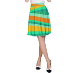 Green and orange decorative design A-Line Skirt