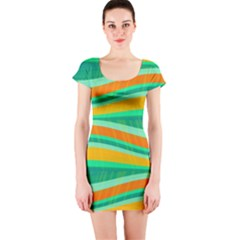 Green and orange decorative design Short Sleeve Bodycon Dress