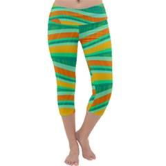 Green and orange decorative design Capri Yoga Leggings