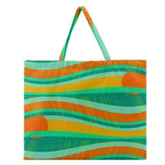 Green And Orange Decorative Design Zipper Large Tote Bag