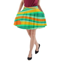 Green and orange decorative design A-Line Pocket Skirt