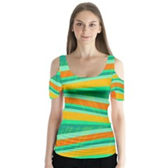 Green And Orange Decorative Design Butterfly Sleeve Cutout Tee