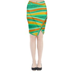 Green And Orange Decorative Design Midi Wrap Pencil Skirt