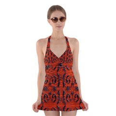 3d Metal Pattern On Wood Halter Swimsuit Dress