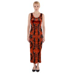 3d Metal Pattern On Wood Fitted Maxi Dress