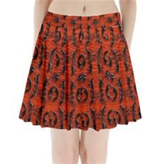 3d Metal Pattern On Wood Pleated Mini Skirt