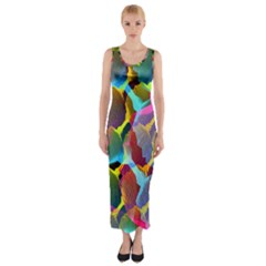 3d Pattern Mix Fitted Maxi Dress