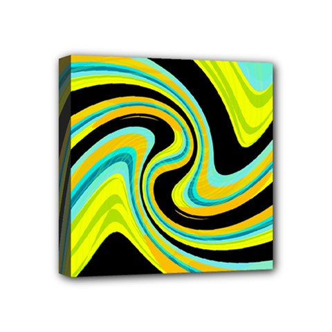 Blue and yellow Mini Canvas 4  x 4