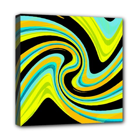 Blue and yellow Mini Canvas 8  x 8