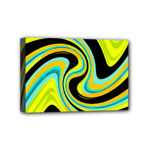 Blue and yellow Mini Canvas 6  x 4