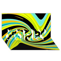 Blue and yellow SORRY 3D Greeting Card (8x4)