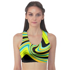 Blue and yellow Sports Bra