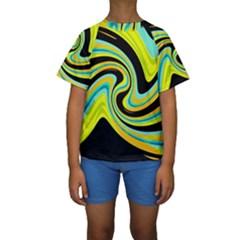 Blue and yellow Kids  Short Sleeve Swimwear