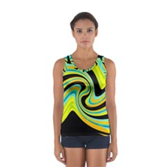 Blue and yellow Women s Sport Tank Top