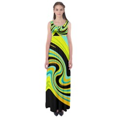 Blue and yellow Empire Waist Maxi Dress