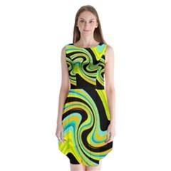 Blue And Yellow Sleeveless Chiffon Dress