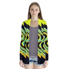 Blue And Yellow Drape Collar Cardigan