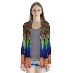 3d Peacock Bird Drape Collar Cardigan