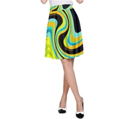 Blue and yellow A-Line Skirt