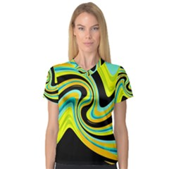 Blue and yellow Women s V-Neck Sport Mesh Tee