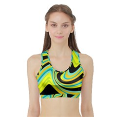 Blue and yellow Sports Bra with Border