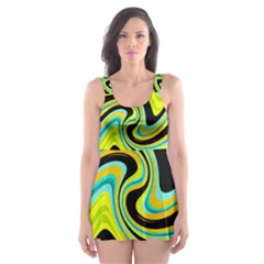 Blue And Yellow Skater Dress Swimsuit