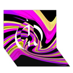 Pink and yellow Peace Sign 3D Greeting Card (7x5)