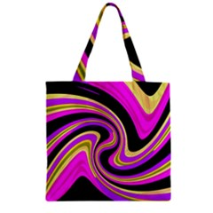 Pink and yellow Zipper Grocery Tote Bag