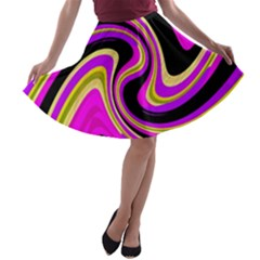 Pink and yellow A-line Skater Skirt