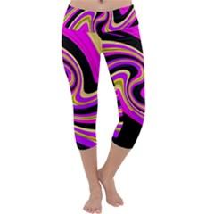 Pink and yellow Capri Yoga Leggings