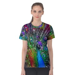 3d Peacock Pattern Women s Cotton Tee