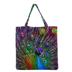 3d Peacock Pattern Grocery Tote Bag