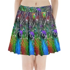 3d Peacock Pattern Pleated Mini Skirt