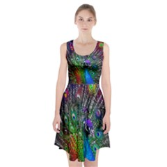 3d Peacock Pattern Racerback Midi Dress
