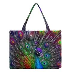3d Peacock Pattern Medium Tote Bag