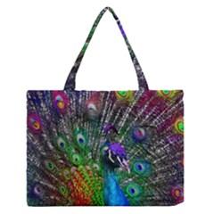 3d Peacock Pattern Medium Zipper Tote Bag
