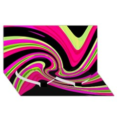 Magenta and yellow Twin Heart Bottom 3D Greeting Card (8x4)