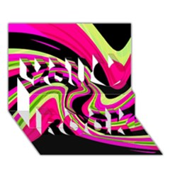 Magenta and yellow You Rock 3D Greeting Card (7x5)