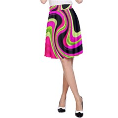 Magenta and yellow A-Line Skirt