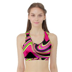 Magenta and yellow Sports Bra with Border