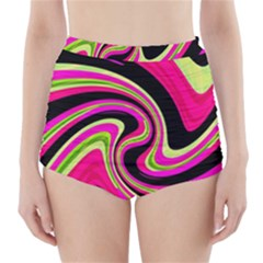 Magenta and yellow High-Waisted Bikini Bottoms