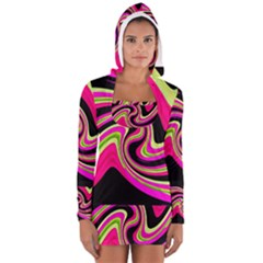 Magenta and yellow Women s Long Sleeve Hooded T-shirt