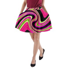 Magenta and yellow A-Line Pocket Skirt