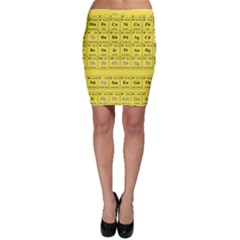 Periodic Table In Yellow Bodycon Skirt